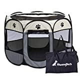 XianghuangTechnology Soft Fabric Portable Foldable Pet Dog Cat Puppy Playpen, Indoor/Outdoor use Pet Kennel Cage D31 x H23 (Grey)