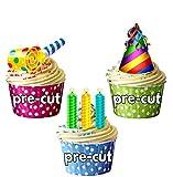 Fun bunt Geburtstag Party Pack, Kuchen Dekorationen–36Essbar Stand-up Cupcake Topper
