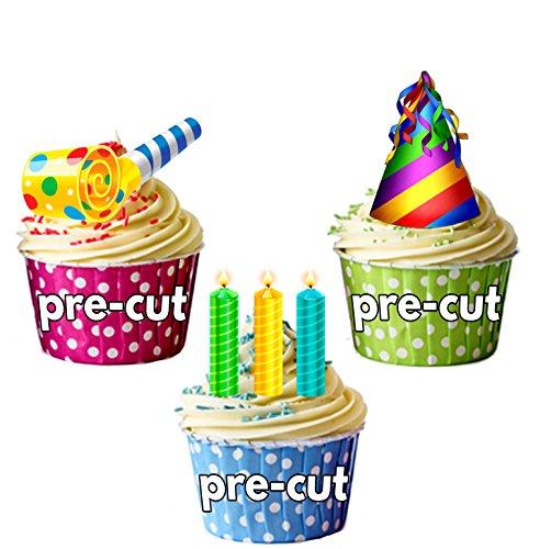 Fun bunt Geburtstag Party Pack, Kuchen Dekorationen-36Essbar Stand-up Cupcake Topper (Karten Lustige Geburtstag Pack)