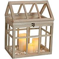 Mini Gewächshaus Holz braun Ziehkasten Laterne Windlicht Vintage groß