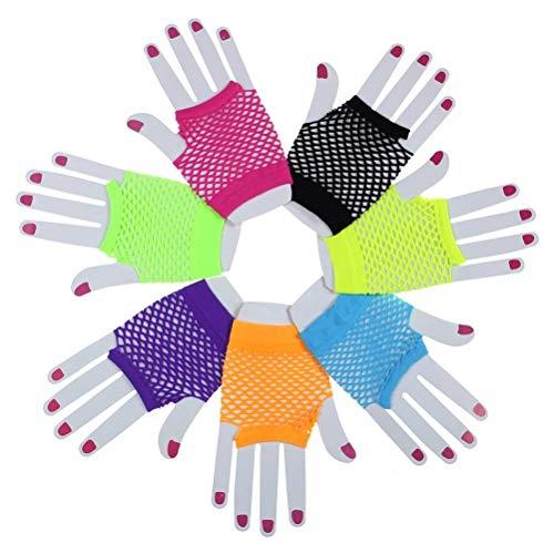 VADOO Neon-Netzhandschuhe für Partys Kostüm (7 Paar)