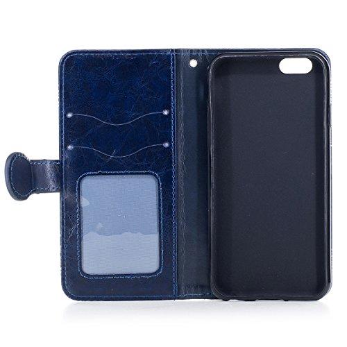 Etsue iPhone 7 Coque, iPhone 7 Housse, iPhone 7 Portefeuille Coque ,Gaufrure Folio Luxe 3D en PU Cuir Gravée en Relief du Fleur Motif Protecteur Coquilles Bumper pour iPhone 7 Etui con intérieure en S Bleu
