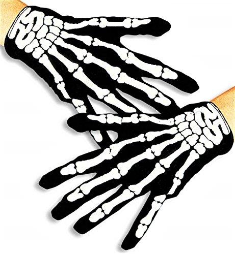 KarnevalsTeufel Handschuhe im Skelett-Style, Schwarz-weiß, Knochen, Einheitsgröße, Gruselig, Halloween