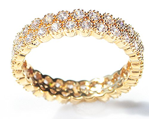 Women's Genuine 18k Gold Filled Micro Pave Fringed Ring. UK Guarantee : 3? / 5-10 years. Glamourous Eternity Band Set With Sparkling Simulated Diamonds. Highest Quality Finish.