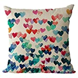 Nunubee Cotton Linen Cushions Cover Protectors 18x18In/45x45cm Pillowcase Throws Pillow Case Sofa Decoration Heart
