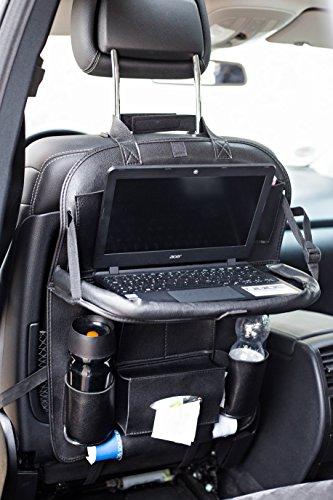 Preisvergleich Produktbild BLACK Schwarz Rückenlehnenschutz Utensilientasche mit Klapptisch und Halterung für Tablet und Handy