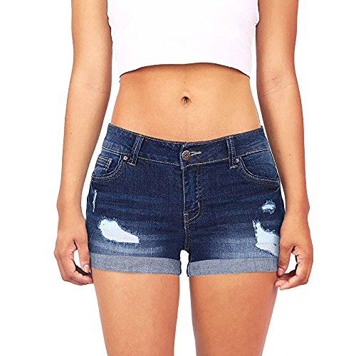 Sonnena Damen Jeansshorts Basic in Aged-Waschung Jeans Bermuda-Shorts Kurze Hosen aus Denim für den Damen High Waist Denim Kurze Hose Ripped Loch Hotpants Shorts - Gestreifte Spitze
