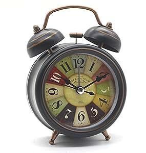 Vintage Mini Mute Wecker mit Nachtlicht, Retro Arabischen Ziffern Analog Quarzwecker kein Ticken Doppelglockenwecker Alarm Tischuhr Geräuschlos Uhr Alarm Clock
