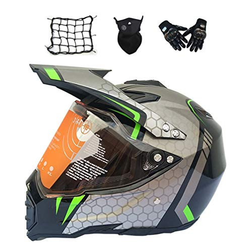MRDEAR Casco Motocross con Visiera, Set da Casco Cross Adulto (4 PCS/Nero e Grigio) Casco Enduro Integrale Moto MTB off-Road ATV Scooter Downhill Sport per Donna Uomo,XXL