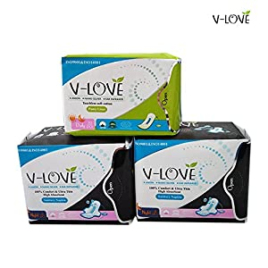 3packs/lot=46pcs VLOVE Feminine Anion Sanitary Pads