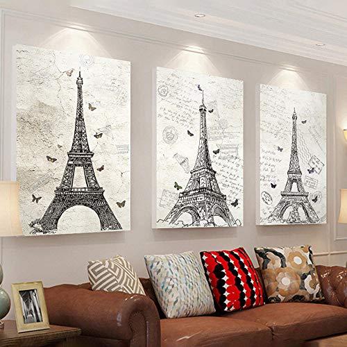 AKLIGSD Cuadro Lienzo 3 Piezas Torre Eiffel Sala Estar