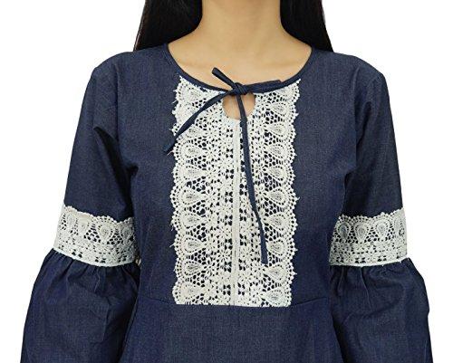 Bimba Frauen Retro Style Denim Kleid Mitte Kalb Boho Kleid Mit Spitze Detail Blau (Design#1)