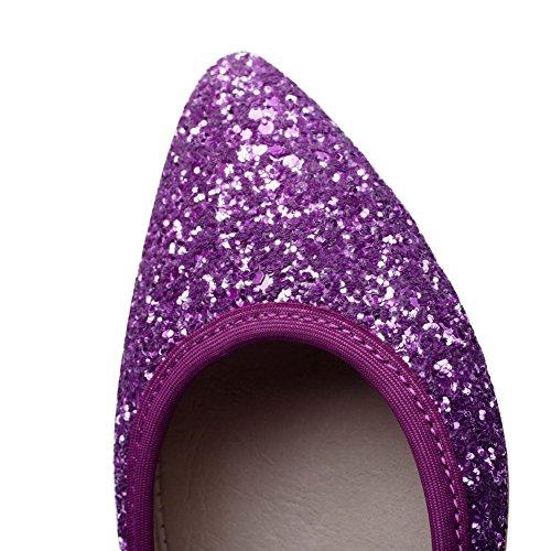 VogueZone009 Damen Niedriger Absatz Weiches Material Rein Ziehen Auf Spitz Zehe Pumps Schuhe Lila