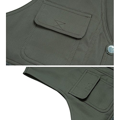Zhhlinyuan Mens Lightweight Practical Outdoor Fishing Waistcoats Vest Both Sides To Wear Khaki