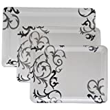 #9: Deemark Melamine Czar New E5 3 Pic Tray Set -Black Design