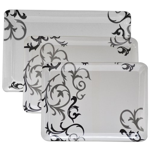 Deemark Melamine Czar New E5 3 Pic Tray Set -Black Design