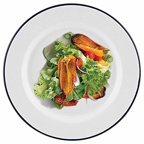 Assiette large en émail Genware 45020 de 20 cm - Couleur blanche et bord bleu