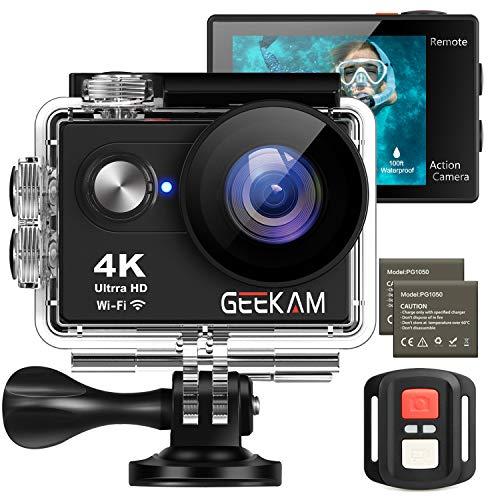 Geekam Action Cam 4K wasserdichte 30M Unterwasser WiFi Action Kamera 170° Weitwinkelobjektiv Zwei Batterien 2.4G Fernbedienung und 16 Helm Zubehör Kit