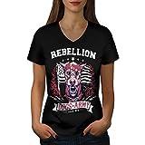 Chien Armée Combattant Animal Femme L T-shirt à col en V | Wellcoda