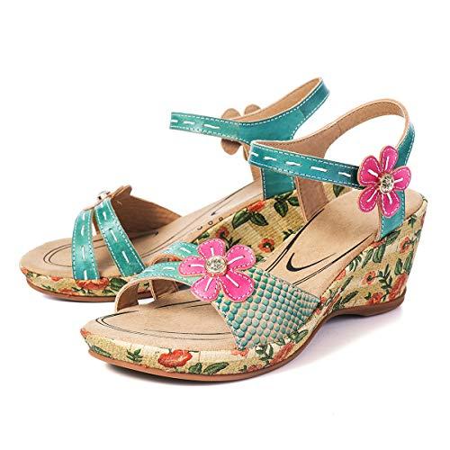 Gracosy Sandalias Cuero Verano Mujer Estilo Bohemia Zapatos de Tacón Medio para Mujer de Dedo Cuña...