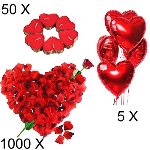 Kit Romantico di Candele e Petali. 50 Candeline Forma di Cuore e 1000 Petali di Rosa di Seta e 5 Palloncini Cuore Rossi Decorazioni per Matrimonio