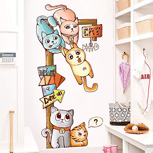 HSMRHS Wandaufkleber Aufkleber Europäischen Stil Wohnzimmer Schlafzimmer Dekoration Wandaufkleber Happy Cat Aufkleber TV Hintergrund Wanddekorationen Selbstklebend