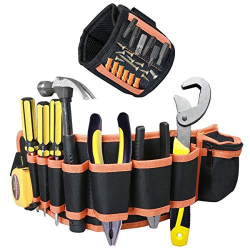 Laoyoung Werkzeuggürtel Werkzeugtasche aus 600D Oxford Stoff + Magnetisches Armband Magnetarmband mit 15 leistungsstarken Magneten