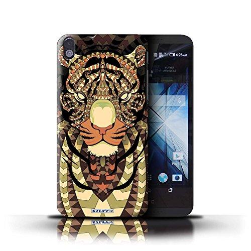 Kobalt® Imprimé Etui / Coque pour HTC Desire 816 / éléphant-Rouge conception / Série Motif Animaux Aztec Tigre-Sépia