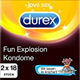 Durex Fun Explosion Kondome, Online Sticker Kondom Aktionspackung mit gratis Kartenspiel, 2 x 18 Stück