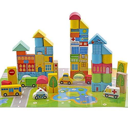 dagogisches Spielzeug, Holz Bausteine Blöcke Stacking Spielzeug, Stadt Thema Spiel (Kinder Holz Bausteine)