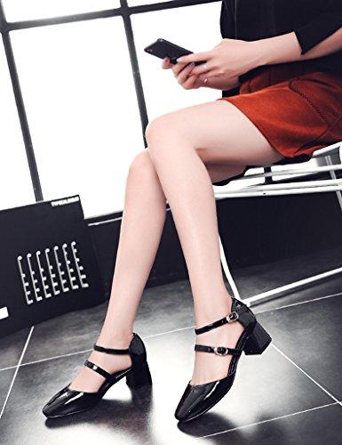 HWF Scarpe donna Shallow Mouth Sandals Female Spring Summer Square Head Scarpe col tacco alto Scarpe casual da donna ( Colore : Nero , dimensioni : 38 ) Nero