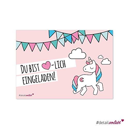 Preisvergleich Produktbild 15 süße Einladungskarten Motiv Einhorn, DIN A6 umweltfreundlich - Kindergeburtstag, Einhörner, Mädchen, Einladung, Geburtstag, #detailverliebt rosa
