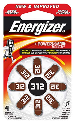 Energizer EZ Turn & Lock Hörgerätebatterien 312, 8er-Pack, braun