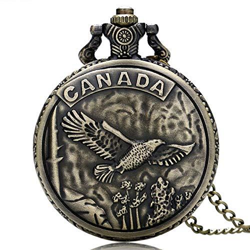 Herren Taschenuhr, Retro-Bronze, Kanada-Adler, Quarz-Taschenuhr, Geschenk für Herren