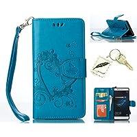 Silikonsoftshell PU Hülle für Huawei P9 (5,2 Zoll) Tasche Schutz Hülle Case Cover Etui Strass Schutz schutzhülle Bumper Schale Silicone case(+Exquisite key chain X1)#AO