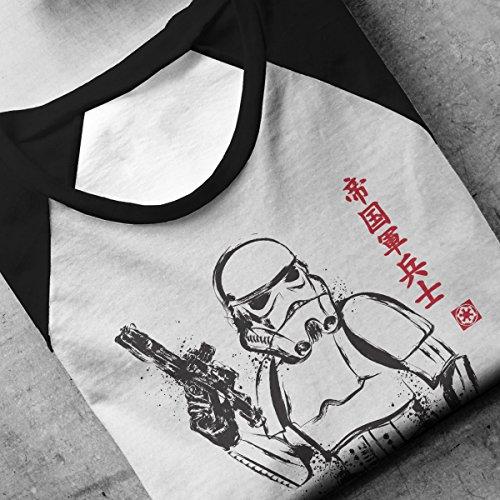 Imperial Soldier Stormtrooper Sumi e Star Wars Men's Baseball Long Sleeved T-Shirt White/Black