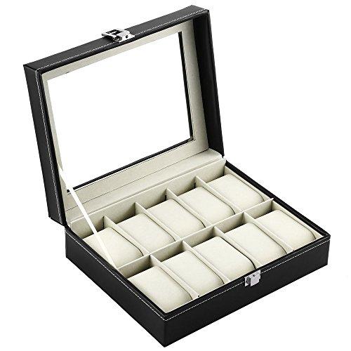 Dp design® cofanetto porta orologi 10 posti in similpelle coperchio in vetro 20x27,5x8,5cm