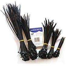 Fascette per cavi iLP - Set da 500 - Ciascuno da 100x100/150/180/200/300 mm - Fascette multiuso per la conservazione stabile e permanente di fasci di cavi - UV - resistente - qualità professionale - nere