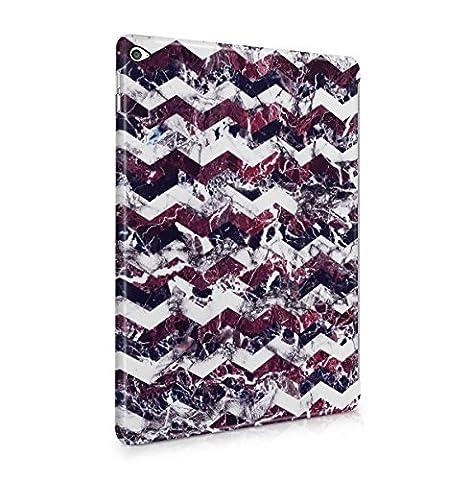 Purple Cherry White Marble Chevron Print Tablet Coque Housse Etui De Protection Plastique Dur Ligne Profil Slim Pour iPad Air 2 Hard Plastic Case Cover