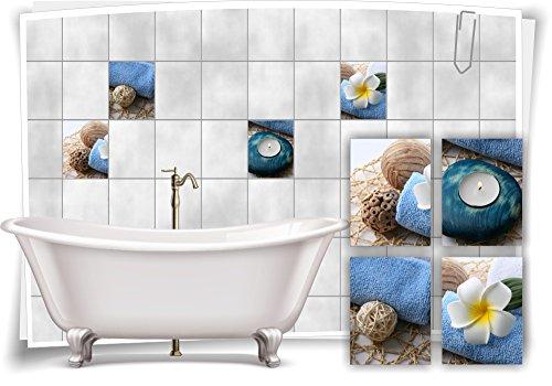 Medianlux Fliesenaufkleber Fliesenbild Plumeria Kerze Blau Wellness SPA Aufkleber Sticker Deko Bad WC, 20x25cm