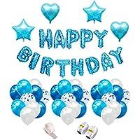 iZoeL Geburtstag Deko für Junge Blaue Happy Birthday Girlande Folienballon 30 Latex Ballons( Blau&Hellblau&Weiß) 10 Blau Silber Konfetti Luftballons & 4 Herz Stern Folienballon Ballonbänder Sticker