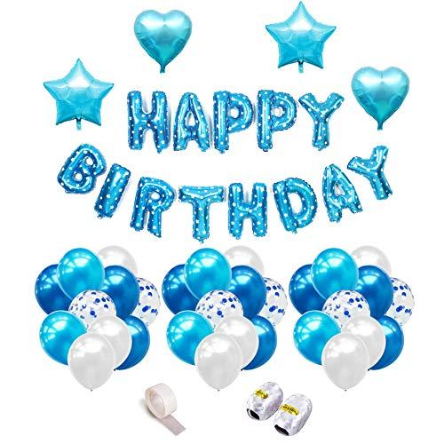 o für Junge Blaue Happy Birthday Girlande Folienballon 30 Latex Ballons( Blau&Hellblau&Weiß) 10 Blau Silber Konfetti Luftballons & 4 Herz Stern Folienballon Ballonbänder Sticker ()