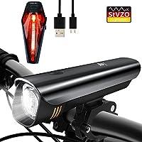 Degbit Sport & Freizeit StVZO Zugelassen Wiederaufladbare Fahrradbeleuchtung, Fahrradlampe Set inkl, LED Frontlichter und Rücklicht, 2600mAh Akku USB Aufladbare Fahrradlichter, Black