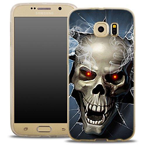 OOH!COLOR® modisches Case für SAMSUNG GALAXY S6 EDGE Silikon Hülle mit Motiv Skull Halloween Zombie Totenkopf FSC037 elastisch Schutzhülle Transparent Case Luxus Cover Slim Etui