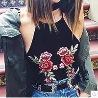 GUYIVVU Damen Top Lace Joker Frauen Kleidung Party Augen Frühling Sommer Brust Stickerei Weste