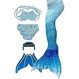 3STEAM Mädchen Meerjungfrauenschwanz Zum Schwimmen mit Meerjungfrau Flosse, Water Blue, 12 (130-140cm)