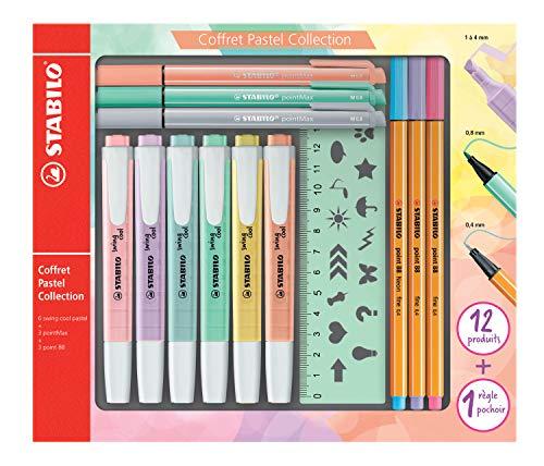 STABILO Pastel Collection Set -Confezione mista 13pezzi: 6swing cool pastel, 3point 88, 3pointMax, 1righello stencil