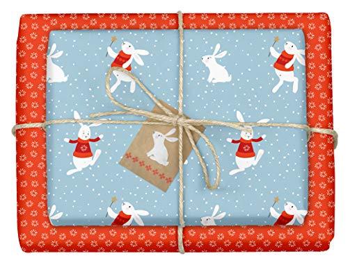 Paperandpicture.de - 4 fogli di carta da regalo natalizia per bambini con motivo'coniglietto di neve', formato DIN A2 (ecologico, carta riciclata) + 4 ciondoli in set per bambini e bambine