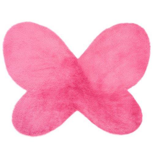 Alfombra microfibra para habitación de los niños, Forma de mariposa- Color ROSA Fucsia