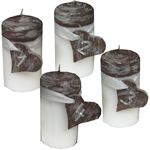 ilonas-lichtermeer Weihnachten Zahlen 1234 Kerzenset 4 Stück Stumpenkerzen Adventskerzen 100x50 Dekokerzen Kerzen mii Herz für Adventskranz naturbraun weiß möglich IW17